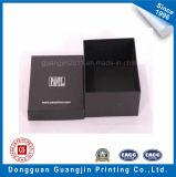 Черная бумажная твердая коробка подарка картона с серебряным логосом