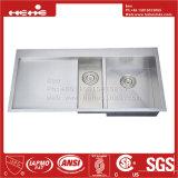 Lista suspensa de aço inoxidável para montagem na parte superior da taça Duplo cozinha artesanal pia com placa de purga