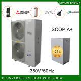 Amb。 -25cの空気臨時雇用者。 ホーム熱のための冷たい冬の床暖房の家+50cの熱湯12kw/19kw/35kw R407c Eviのヒートポンプの給湯装置