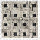 Marmorsteinmosaik 3D polierte und spaltete Ende für Wand auf
