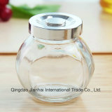 Vier Größen-flache Trommel-Form-Glasglas-Speicher-Flasche