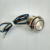 Acero Inoxidable 316L 24V anillo azul de bloqueo de la LED 19mm Interruptor Piezo Impermeable IP68
