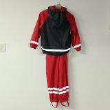 Vermelho sólido e Azul Marinho PU Reflective Resguardo de chuva para crianças/conjunto de bebé
