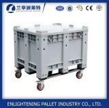 Caixa de pálete plástica exalada 606L do HDPE com a roda para a agricultura