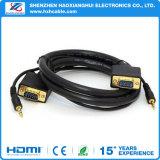 VGA покрынный золотом SVGA M/M с шнуром кабеля аудиоего Stereo 3.5mm вспомогательным для PC TV