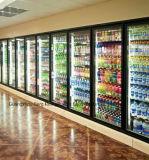 유리를 가진 저온 저장 냉장고에 있는 슈퍼마켓 도보