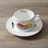 喫茶店によって使用される骨灰磁器一義的なデザイン高品質熱い販売法の陶磁器210cc小型陶磁器の茶カップ・アンド・ソーサー卸し売り安いC&S