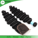 100% de cabelo humano Virgem de ondas do Oceano pacotes de cabelos peruana