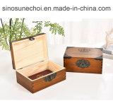 Ancienne couleur Rectangle Boîte de thé en bois avec logo personnalisé de l'impression