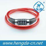 Yh1220 4桁の組合せの赤い自転車は長いケーブルのバイクロックをロックする