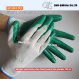 K-100 13ゲージポリエステルナイロン綿のニトリルの上塗を施してある安全働く手袋