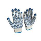 Поставленные точки PVC перчатки руки хлопка