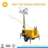 構築Portable 7m Telescopic Mast Kubota Engine Mobile Light Tower Diesel Generator
