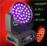 36*18W Rgbwauv 6en1 Zoom Déplacement de l'étape de la tête de lavage de lumière LED