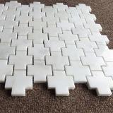 الصليب شكل [أرينتل] بيضاء رخاميّ أرضية رخام [موسيك تيل]