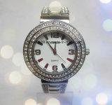 Vigilanza di lusso del quarzo del diamante della signora vigilanza della catena d'acciaio piena del braccialetto