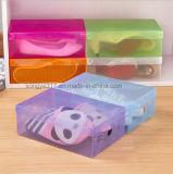 저장 상자가 두꺼운 플라스틱 투명한 구두 상자에 의하여 구두를 신긴다