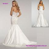 L'ivoire oblong perlé de corsage a modifié A - ligne robe de mariage