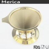 De acero inoxidable 304 Pale Golden Dripper de café