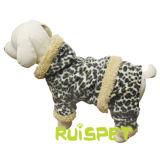 フード付きのヒョウの羊毛犬のジャンプスーツペット衣服