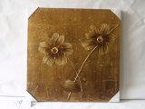 حلو [تن] يسكن اثنان زهرات زخرفة تجريديّ أسلوب نوع خيش صورة زيتيّة