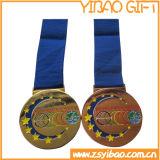 印刷のリボン(YB-MD-66)が付いているダイカストのエナメルの金メダルを