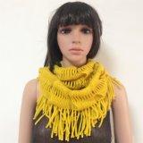 アクリルのFashion Knittedフリンジが付いている女性首スカーフ