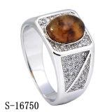 Monili d'argento 925 anelli d'argento degli uomini della CZ con la pietra naturale