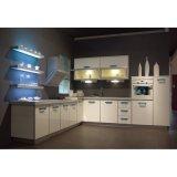 カスタマイズされた現代白いラッカー線形合板の食器棚