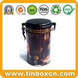 Nahrungsmittelgrad-runde Kaffee-Blechdose, Metallkaffee-Zinn-Kasten