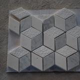 плитка мозаики Carrara косоугольника 3D форменный белая мраморный