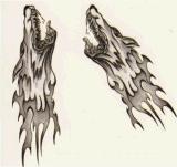 Autoadesivo provvisorio impermeabile animale del tatuaggio di disegno del totem del lupo