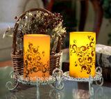 Stampa che lampeggia la candela a pile senza fiamma di sicurezza di utilizzo LED per la decorazione