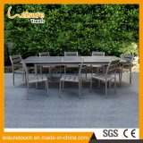 French Leisure Bistro Jardin Meubles extérieurs Imperméable Polywood Powder Spraying Aluminium Dining Restaurant Chaises Tables Set