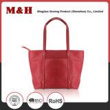 Red Multi-Pocketed Ladies Bag Sacola de couro Bolsa para revista