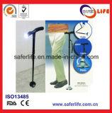 2017 Nouveau produit Saferlifer Red Aluminium pliable canne à pied avec LED Light Walking Stick