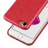 Caso híbrido de goma ultra-delgado antideslizante TPU cuero de la cubierta a prueba de golpes para el iPhone 7