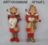Molla giocattoli forniti di gambe della decorazione di festa del modello del pupazzo di neve e della Santa, decorazione di Asst-Natale 3