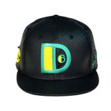 Negro de alta calidad Gorra de cuero de PU 6 paneles personalizados Snapback hombre Sun Hat Hat