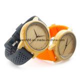 Relógio de madeira de bambu das mulheres da forma com a cinta de couro longa