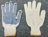 Manómetro de 7 puntos de PVC de color azul de algodón natural guante (SJIE1004)