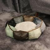 Base luxuosa do cão do gato do projeto da forma do sofá do cão da base redonda de couro luxuosa do animal de estimação