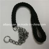 Polyester noir tissé jeux de cordes de la courroie et des anneaux en fer chien fixe
