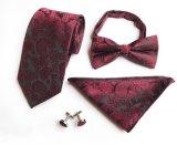 Los lazos al por mayor del regalo de los hombres de la mancuerna de la pajarita del pañuelo del lazo que correspondían con de seda fijaron (ST001/002/003/004)