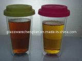 Verre borosilicaté double paroi en verre avec couvercle en silicone (B-DBW05)