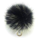 Милой Raccoon Faux шлема шерстей Pompom держателя ключа шарика шерсти связанный зимой