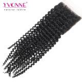 Закрытие шнурка девственницы волос Yvonne бразильское Kinky курчавое