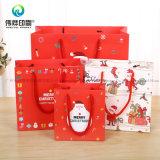 Мешок Kraft рождества 2017 таможен бумажный для упаковывая подарка рождества с ручками петли