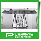 Tabella pranzante libera di vetro Tempered con i piedini dell'acciaio inossidabile