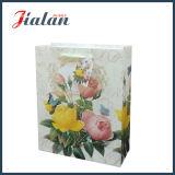 Personnaliser le papier imprimé fleurs Glitter Shopping transporteur sac de papier cadeau